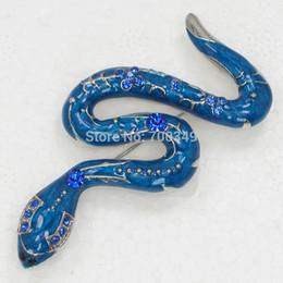 Wholesale 12piece lot Blue Crystal Rhinestone Enameling Snake Brooch Pin Jewelry C978 B