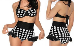 Hot Selling Retro Swimsuit Swimwear Black with White Polka Dot Pin Up High Waist Ladies Bikinis Set New Arrival