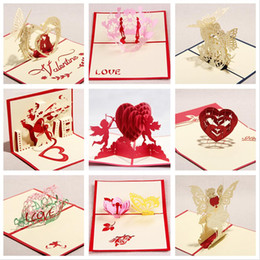 Wholesale Lover Theme D laser cut pop up paper handmade postcards custom greeting cards gifts for lover set LQM9