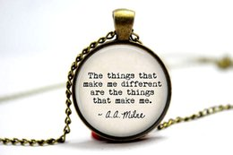Wholesale 10pcs the Pooh Quote quot The things that make me different are the things that make me quot Glass Photo Cabochon Necklace