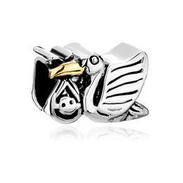 22K Gold Plating plus Rhodium plating lovely stork Lucky animal Charms European Bead Fit Pandora DIY Bracelet