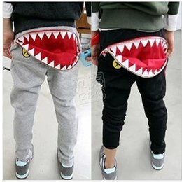 Wholesale 2016 Summer kids cool cartoon cotton pants baby boy girl casual Harem pants Good Quality shark tooth Zipper Harem pants Baby clothes C019