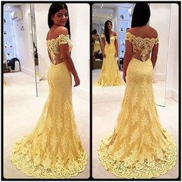 Fashion 2016 Mermaid Evening Dresses For Woman Off Shoulder Short Sleeve See Though Back Sexy Long Yellow Lace Evening Party Dress