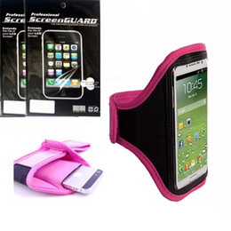 Wholesale-Pink Running Sport Armband GYM Case Cover + 3x Clear Guard Shield Screen Protector Film FOR Cell Phone Samsung GALAXY S6 G9200