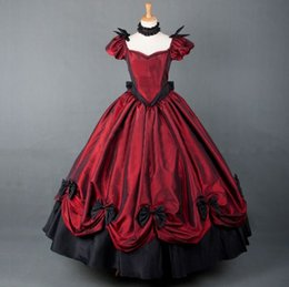 2015 new Red Black Short Sleeve Floor-length Victorian Gothic Lolita prom dresses Can be Custom