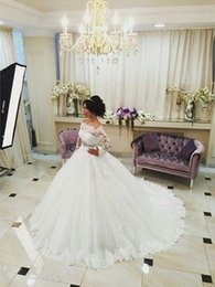 2016 Best Selling Lace Applique Off-Shoulder Lace Wedding Dresses With Bead Sash Off-Shoulder Ball Gowns Princess Bridal Gowns Plus Size