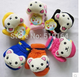Wholesale-3PAIRS LOT Hot selling Winter Warm Gloves Full Fingers Decor with Cats Thermal Gloves With strings
