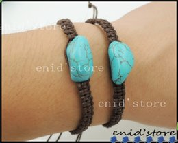 new trendy turquoise bracelets simple hand-knitted wax rope with Natural turquoise charm bracelet irregularly shaped green stone bracelets