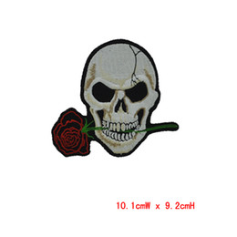 wholesale patch Rose flower Embroidered 10pcs Iron On Patchs ironing clothes embroidery Cross Bones Pirate Flag Applique patch