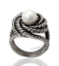 Titanium 316L Stainless Steel Freshwater Pearl Women's Silver Ring Band Wedding Gift Size 8-11 New Fashion Jewelry