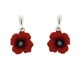 2015 New List Wholesale Rhodium Silver Plated Red Emerald Poppy Flower Jewelry Drop Earrings Fashion Accessories