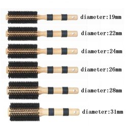 Round Wood Hair Brus High Quality Professional Salon Tool Boar Wood Handle with Rubber 11Different Size 120 piece per Lot DHL Free Shipment