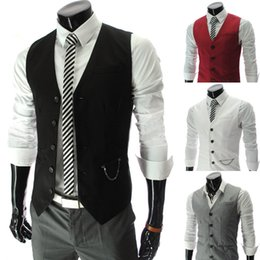 HOT Mens V-Neck Slim Fit Vests Suit Casual Formal Tuxedo Dress Waistcoat Style