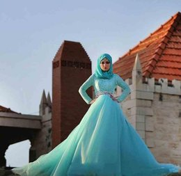 Custom Winter Ball Gown Muslim Wedding Dresses 2015 witn sash floor length long sleeve Bridal Gowns