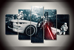 Wholesale Sexy Nude Wall Art - 2015 Framed Printed Star Wars Movie 5 piece picture painting wall art children's room decor poster canvas Free shipping sexy nude paintings