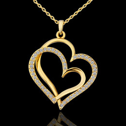 High Quality Gold Plated Double Rhinestone Crystal Heart Link Pendant Necklace Jewelry For Women