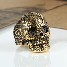 316L stainless steel giant golden skull biker new designs