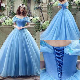 Wholesale 2016 Cheap Cinderella Graceful Ocean Blue Tulle Ball Gown Quinceanera Dresses Off Shoulder Butterflies Beaded Floor Length Prom Gowns