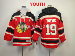 Wholesale Factory Outlet Youth Chicago Blackhawks Jonathan Toews Fleece Hooded kids Jersey Old Time Hockey Hoodies Sweatshirts cheap store