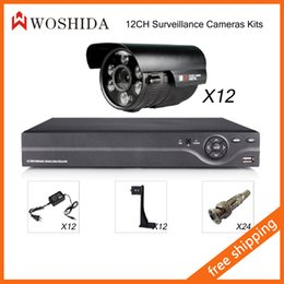 12CH Security Camera System Kit DVR + HD 1200TVL Security Camera IR Array Night Vision Waterproof With Bracket and Power Woshida