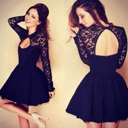 Wholesale 2015 Long Sleeve Lace A Line Homecoming Dresses Graduation Dresses V Neck Backless A Line Short Cocktail Dress BO5384