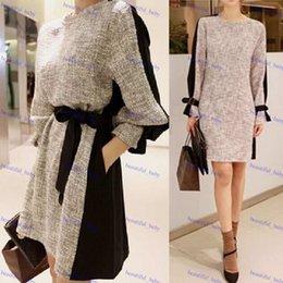 Korean women s dress à venda-Vestido Vintage Clothes Mulher Outono Inverno Plus Size manga comprida Estilo coreano Mulheres de Slim Vestido Casual