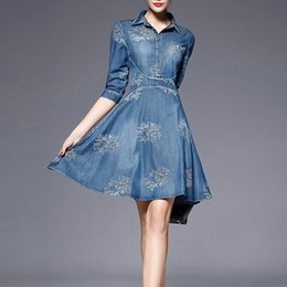 Wholesale 2016 Summer Autumn Style Vintage Half Sleeve Slim Dress Plus Size Clothing Embroidered Women Vestidos Denim Dress Knee LengthF