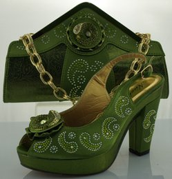 Wholesale hot chunky CM HEELS lady Italian Shoes and Bags to Match Women for party new shoes and handbag ME0079 ARMY GREEN
