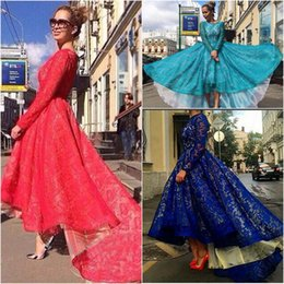 Free Shipping Long Sleeves Lace Evening Dresses 2015 Elegant Zuhair Murad Celebrities Gowns 2016 Dubai Muslim Formal Dresses Custom Made