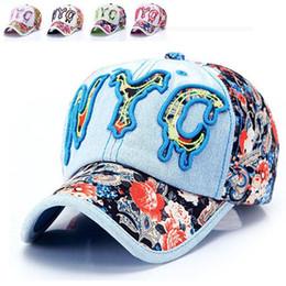 Descuento sombreros de los deportes de la ciudad Ciudad del demin de la primavera gorra de béisbol New York deportivos sol de la flor bordado de la letra de impresión Gorras hombres sombrero 6panel chapeau mujeres óseas