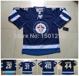 Wholesale Devin Setoguchi Jersey Winnipeg Ice Hockey Jerseys Zach Bogosian Blake Wheeler Ondrej Pavelec Navy Blue Jersey