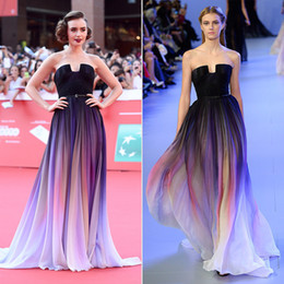 Lily Collins Elie Saab Ombre Pleats Celebrity Dresses Strapless Low Cut Back Sweep Train Chiffon Red Carpet Evening Gowns Prom Dress