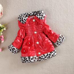 Le commerce de la peau en Ligne-vêtements en gros grain Leopard peau long épaississement des vêtements de coton matelassé manteau des filles BH1262 commerce extérieur pour enfants