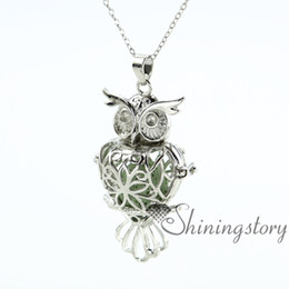 owl heart openwork diffuser necklace diffuser necklaces wholesale perfume necklace perfume pendant lava volcanic stone metal