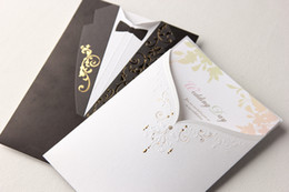 Wholesale Cheap Black Groom Suit White Beach Wedding Invitations Cards with Gold Prints Laser Cut Bows D Pop Up Floral Hollow Cut out Greeting Cards
