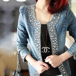 Fashion dongguan_wholesale Design Femmes Printemps Automne Slim Fit Jeans Diamond Denim Jacket Femme Jean Jacket Outwear Vestes pour femme à partir de mince vestes en denim ajustement fabricateur