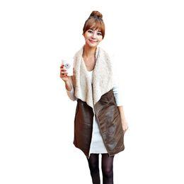 Wholesale Long Vest Tops Women - Wholesale-2016 Top Fashion Winter Women Leisure Waistcoat Lady Warm Faux Fur Collar Vest Long Leather Coat Outerwear Brown Black Plus Size