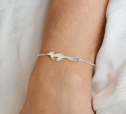 30PCS- B040 Silver Gold Cute Forest Running Fox Bracelet Simple Animal Fox Bracelets Tiny Fox Tail Bracelets for Gifts