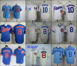 Wholesale Andre Dawson Jersey Vintage White Blue Montreal Expos Chicago Cubs Jerseys