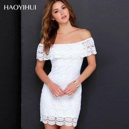 HAOYIHUI Modern New Design Lace Dress Slash Neck Collar Pretty Hollow Mini Dress Women Y5150326