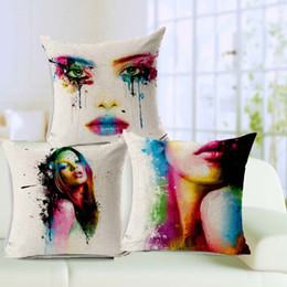 Creative Art Paint Sofa Cushion covers Colorful Body Painting Beauty Throw Pillows Cases 45X45cm Linen Cotton Decorative Pillows Covers