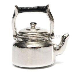 Wholesale Dollhouse Miniature Metal Silver Tea Kettle Water Pot Kitchen Utensil Scale