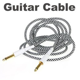 3M 10FT Black & White Cloth Braided Tweed Guitar Cable Cord