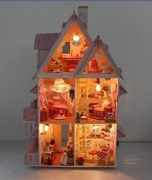 Wholesale DIY wooden doll house miniatura cute Sunshine Alice miniature casa casinha de boneca all Furniture including D LED light
