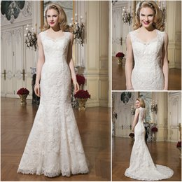 Wholesale 2015 Spring Mermaid Wedding Dresses Lace Applique Queen Anne Neckline See Through Buttons Back Justin Alexander Bridal Gowns