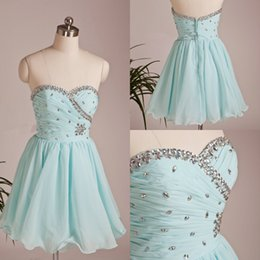 Wholesale Mint Homecoming Dresses Ball Gowns Corset tie Back Prom Evening Graduation Dresses Chiffon Sequins Beads Short Prom Dress Cocktail Gown
