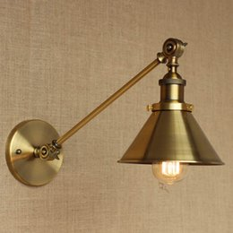 Vintage Iron Wall Lamp High-Quality Long Arm Cinnamon Metal Wall Sconce Garden Corridor Lighting Fast Delivery