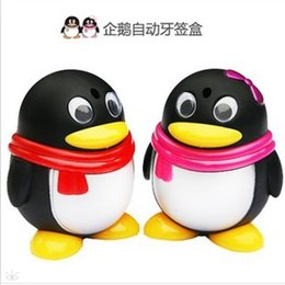 Wholesale cutie penguins automatic Toothpick box promotion gifts CM Freeshipping BB