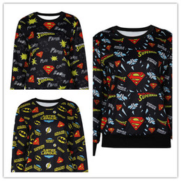 Cool Superman Style Print Sweatshirt Superman Logo Print Pullover Sweatshirt Various Logos Print Comic Hero Sweatshirt