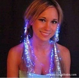 Wholesale-2015 New arrival 10PCS LED light emitting fiber braided wire braid hair ball Bar Disco Flash colorful new braids free shipping